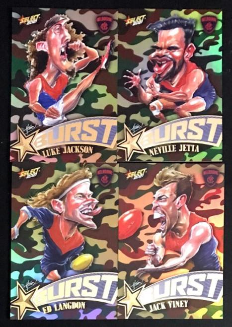 2021 AFL SELECT FOOTY STARS MELBOURNE DEMONS CAMO STARBURST CARICATURE SET
