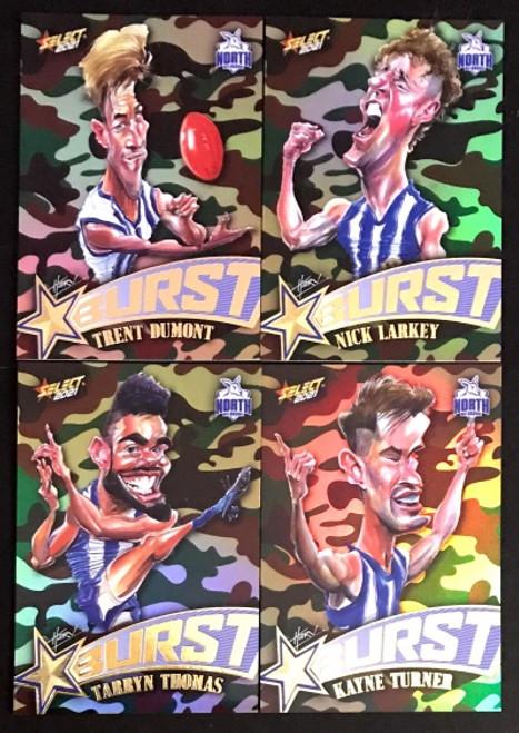 2021 AFL SELECT FOOTY STARS NORTH MELBOURNE KANGAROOS CAMO STARBURST CARICATURE SET