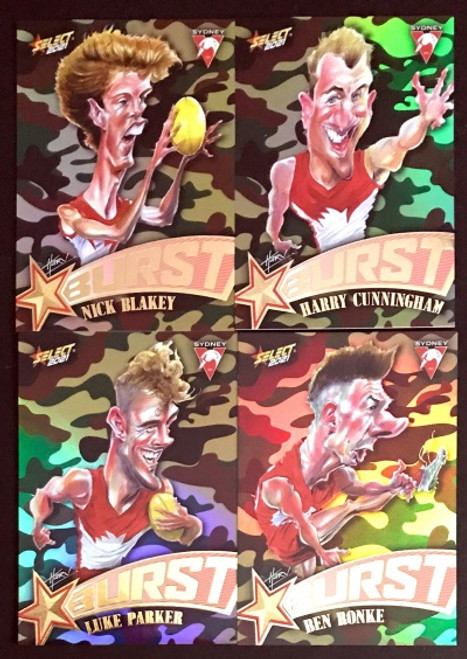 2021 AFL SELECT FOOTY STARS SYDNEY SWANS CAMO STARBURST CARICATURE SET
