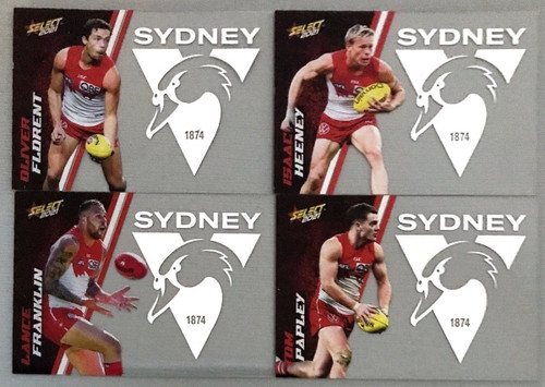 AFL SELECT FOOTY STARS SYDNEY SWANS CLUB ACETATE SET