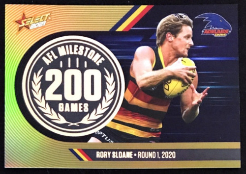 2021 AFL SELCT FOOTY STARS ADELAIDE CROWS RORY SLOANE 200 GAMES MILESTONE CARD
