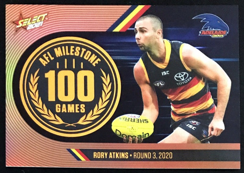 2021 AFL SELCT FOOTY STARS ADELAIDE CROWS RORY ATKINS 100 GAMES MILESTONE CARD