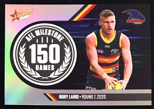 2021 AFL SELCT FOOTY STARS ADELAIDE CROWS RORY LAIRD 150 GAMES MILESTONE CARD