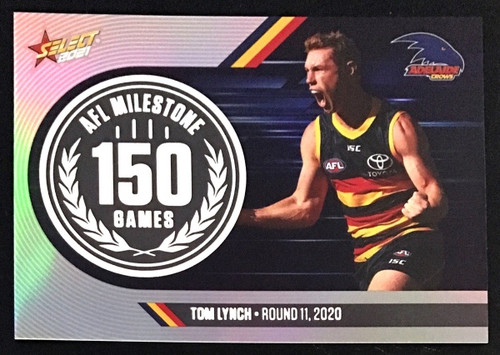 2021 AFL SELCT FOOTY STARS ADELAIDE CROWS TOM LYNCH 150 GAMES MILESTONE CARD