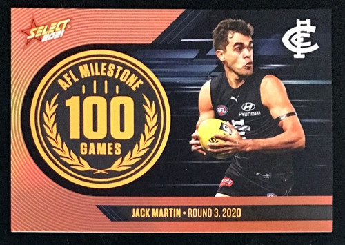 2021 AFL SELECT FOOTY STARS CARLTON BLUES JACK MARTIN 100 GAMES MILESTONE CARD