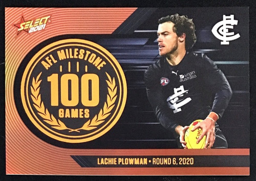 2021 AFL SELECT FOOTY STARS CARLTON BLUES LACHIE PLOWMAN 100 GAMES MILESTONE CARD