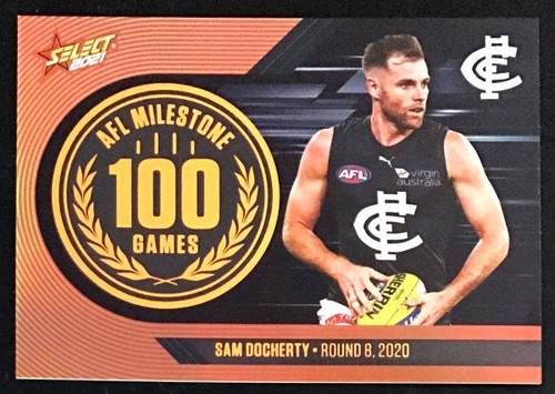 2021 AFL SELECT FOOTY STARS CARLTON BLUES SAM DOCHERTY 100 GAMES MILESTONE CARD