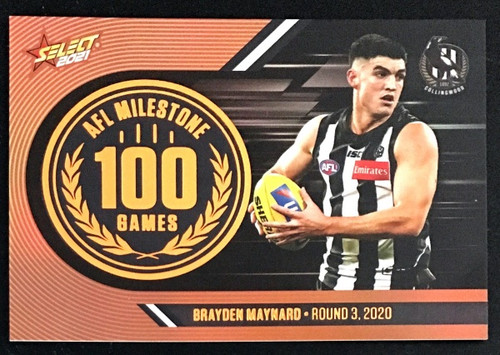 2021 AFL SELECT FOOTY STARS COLLINGWOOD MAGPIES BRAYDEN MAYNARD 100 GAME MILESTONE CARD