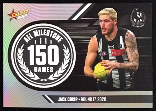 2021 AFL SELECT FOOTY STARS COLLINGWOOD MAGPIES JACK CRISP 150 GAME MILESTONE CARD