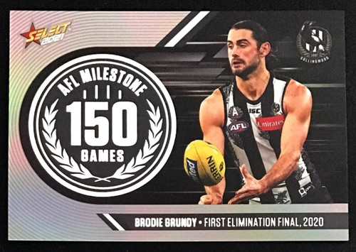 2021 AFL SELECT FOOTY STARS COLLINGWOOD MAGPIES BRODIE GRUNDY 150 GAME MILESTONE CARD