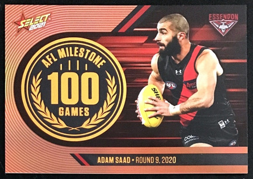 2021 AFL SELECT FOOTY STARS ESSENDON BOMBERS ADAM SAAD100 GAMES MILESTONE CARD