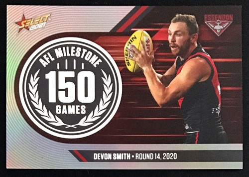 2021 AFL SELECT FOOTY STARS ESSENDON BOMBERS DEVON SMITH 150 GAMES MILESTONE CARD