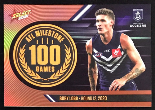 2021 AFL SELECT FOOTY STARS FREMANTLE DOCKERS RORY LOBB 100 GAMES MILESTONE CARD