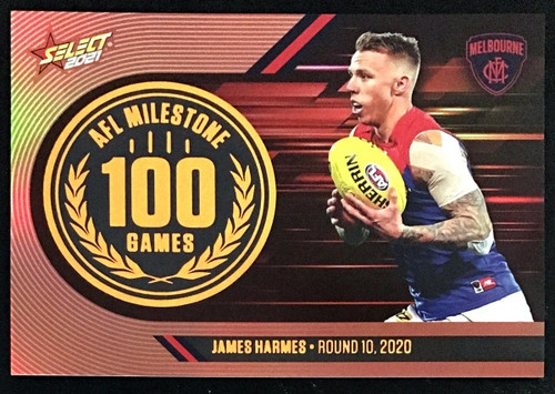 2021 AFL SELECT FOOTY STARS MELBOURNE DEMONS JAMES HARMES 100 MILESTONE CARD