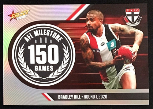 2021 AFL SELECT FOOTY STARS ST KILDA SAINTS BRADLEY HILL 150 GAMES MILESTONE CARD