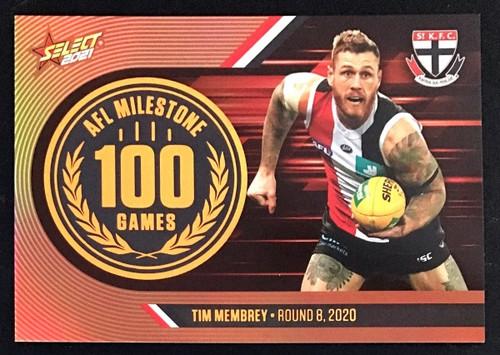 2021 AFL SELECT FOOTY STARS ST KILDA SAINTS TIM MEMBREY 100 GAMES MILESTONE CARD