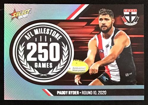 2021 AFL SELECT FOOTY STARS ST KILDA SAINTS PADDY RYDER 250 GAMES MILESTONE CARD