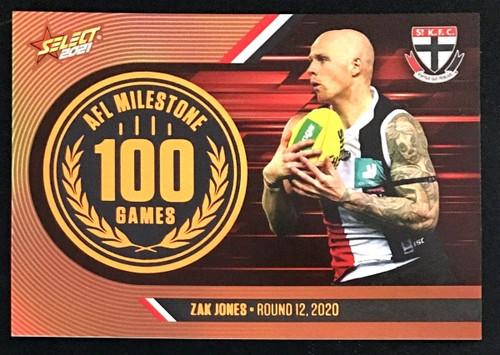 2021 AFL SELECT FOOTY STARS ST KILDA SAINTS ZAK JONES 100 GAMES MILESTONE CARD