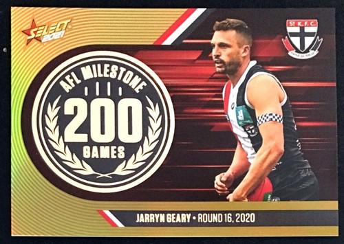 2021 AFL SELECT FOOTY STARS ST KILDA SAINTS JARRYN GEARY 200 GAMES MILESTONE CARD