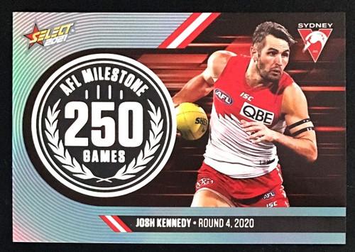 2021 AFL SELECT FOOTY STARS SYDNEY SWANS JOSH KENNEDY 250 GAMES MILESTONE CARD