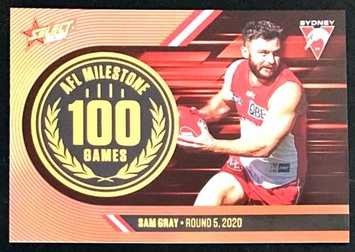 2021 AFL SELECT FOOTY STARS SYDNEY SWANS SAM GRAY 100 GAMES MILESTONE CARD