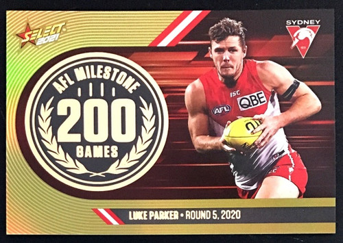 2021 AFL SELECT FOOTY STARS SYDNEY SWANS LUKE PARKER 200 GAMES MILESTONE CARD