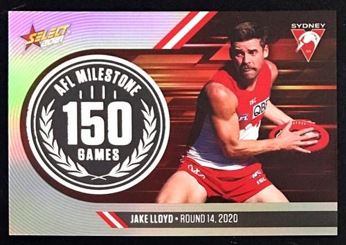 2021 AFL SELECT FOOTY STARS SYDNEY SWANS JAKE LLOYD 150 GAMES MILESTONE CARD
