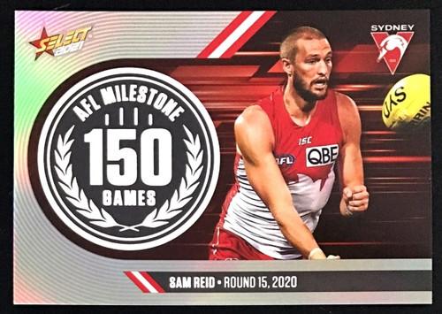 2021 AFL SELECT FOOTY STARS SYDNEY SWANS SAM REID 150 GAMES MILESTONE CARD