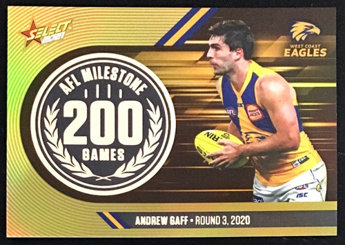 2021 AFL SELECT FOOTY STARS WEST COAST EAGLES ANDREW GAFF 200 GAMES MILESTONE CARD