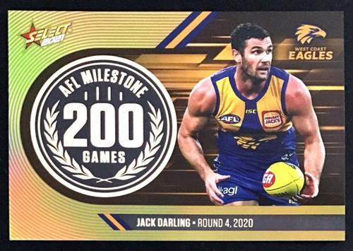 2021 AFL SELECT FOOTY STARS WEST COAST EAGLES JACK DARLING 200 GAMES MILESTONE CARD