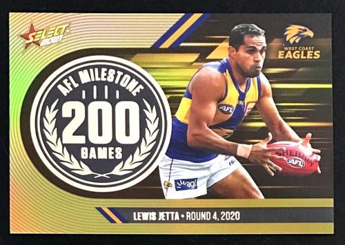 2021 AFL SELECT FOOTY STARS WEST COAST EAGLES LEWIS JETTA 200 GAMES MILESTONE CARD
