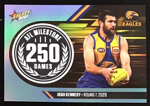 2021 AFL SELECT FOOTY STARS WEST COAST EAGLES JOSH KENNEDY 250 GAMES MILESTONE CARD