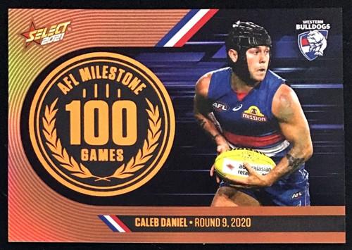 2021 AFL SELECT FOOTY STARS WESTERN BULLDOGS CALEB DANIEL 100 GAMES MILESTONE CARD