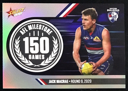 2021 AFL SELECT FOOTY STARS WESTERN BULLDOGS JACK MACRAE 150 GAMES MILESTONE CARD