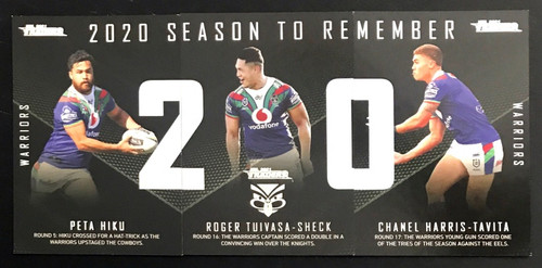 2021 NRL TLA TRADERS NEW ZEALAND WARRIORS  2020 SEASON TO REMEMBER CARDS