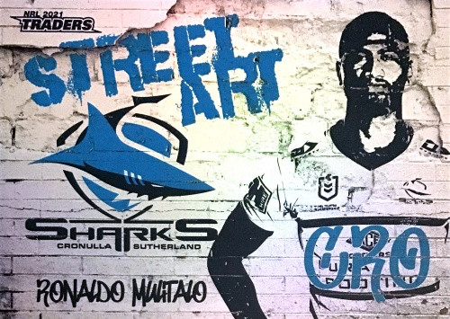 2021 NRL TRADERS RONALDO MULITALO CRONULLA SHARKS STREET ART CARD SAW 04/16