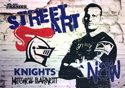 2021 NRL TRADERS MITCHELL BARNETT NEWCASTLE KNIGHTS STREET ART CARD SAW 08/16