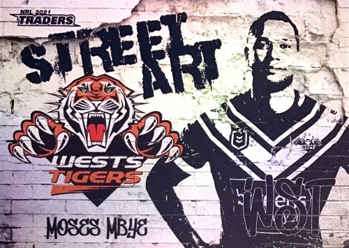 2021 NRL TRADERS MOSES MBYE WESTS TIGERS STREET ART CARD SAW 08/16
