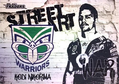 2021 NRL TRADERS KODI NIKORIMA NEW ZEALAND WARRIORS STREET ART CARD SAW 15/16
