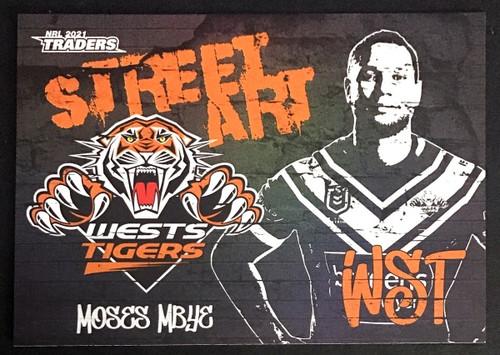 2021 NRL TRADERS MOSES MBYE WESTS-TIGERS STREET ART CARD SAB 16/16