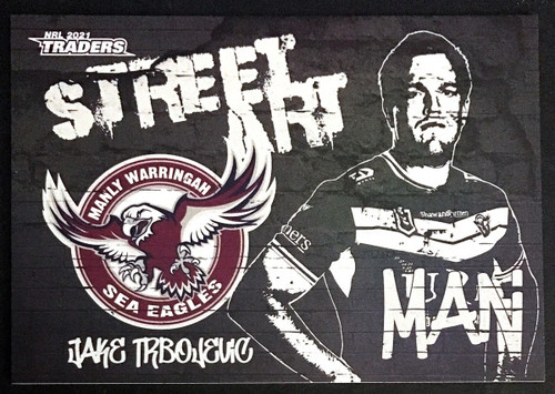 2021 NRL TRADERS JAKE TRBOJEVIC MANLY SEA-EAGLES STREET ART CARD SAB 09/16