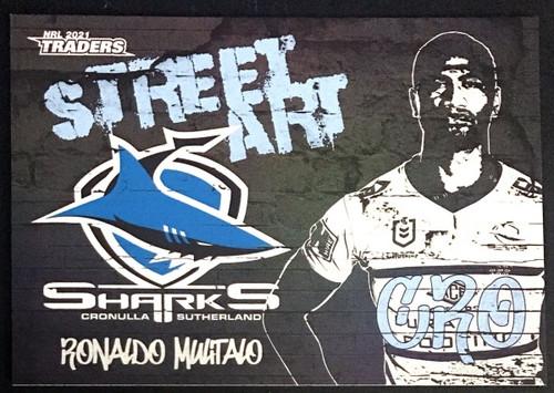 NRL TRADERS RONALDO MULITALO CRONULLA SHARKS STREET ART CARD SAB 04/16