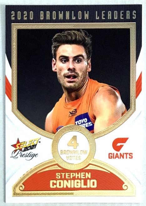 2021 AFL PRESTIGE BROWNLOW LEADERS CARD- STEPHEN CONGLIO GREATER WESTERN SYDNEY GIANTS