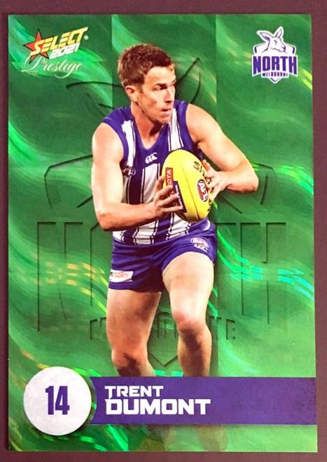 2021 AFL PRESTIGE GREEN PARALLEL CARD- TRENT DUMONT NORTH MELBOURNE KANGAROOS