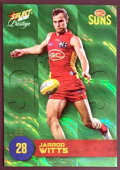 2021 AFL PRESTIGE GREEN PARALLEL CARD- JARROD WITTS GOLD COAST SUNS #6