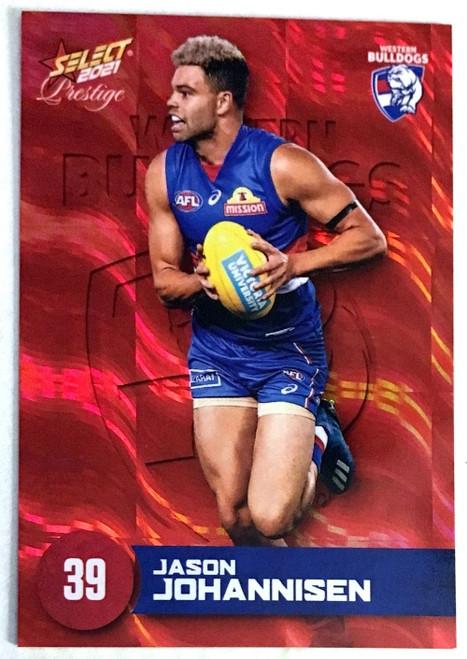 2021 AFL PRESTIGE ORANGE RED PARALLEL CARD- JASON JOHANNISEN WESTERN BULLDOGS CARD