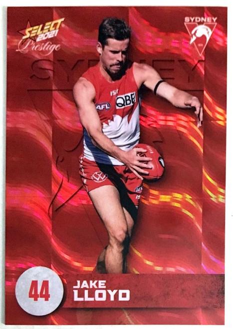 2021 AFL PRESTIGE ORANGE RED PARALLEL CARD- JAKE LLOYD SYDNEY SWANS CARD