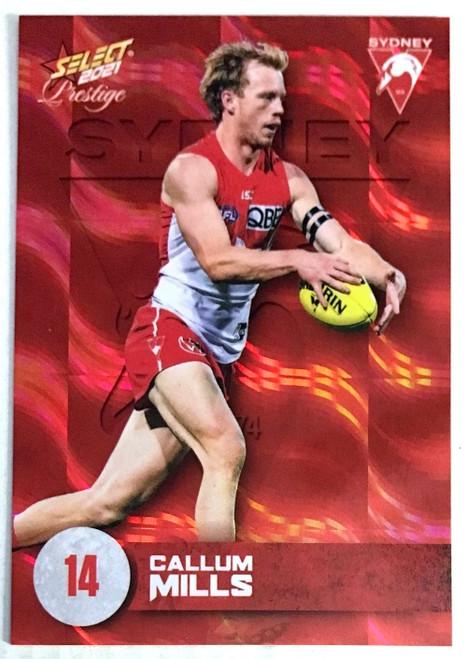 2021 AFL PRESTIGE ORANGE RED PARALLEL CARD- CALLUM MILLS SYDNEY SWANS CARD