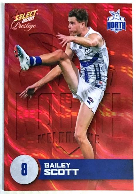 2021 AFL PRESTIGE ORANGE RED PARALLEL CARD- BAILEY SCOTT NORTH MELBOURNE KANGAROOS