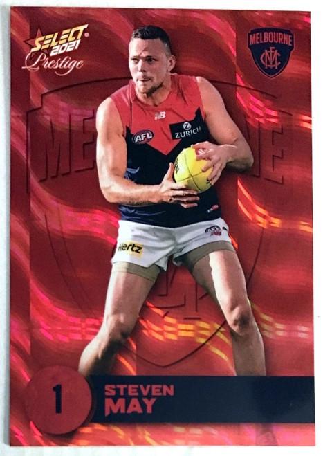 2021 AFL PRESTIGE ORANGE RED PARALLEL CARD- STEVEN MAY MELBOURNE DEMONS